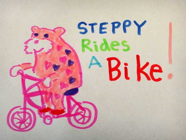 Steppy Rides A Bike