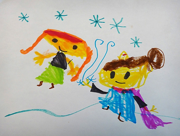 Anna and Elsa Drawing